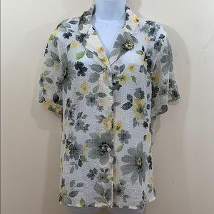 Alfred Dunner Short Sleeve Semi Sheer Floral Shirt